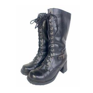 Vntg Y2K Goth Rock Vegan Block Heel Boots Lace Up